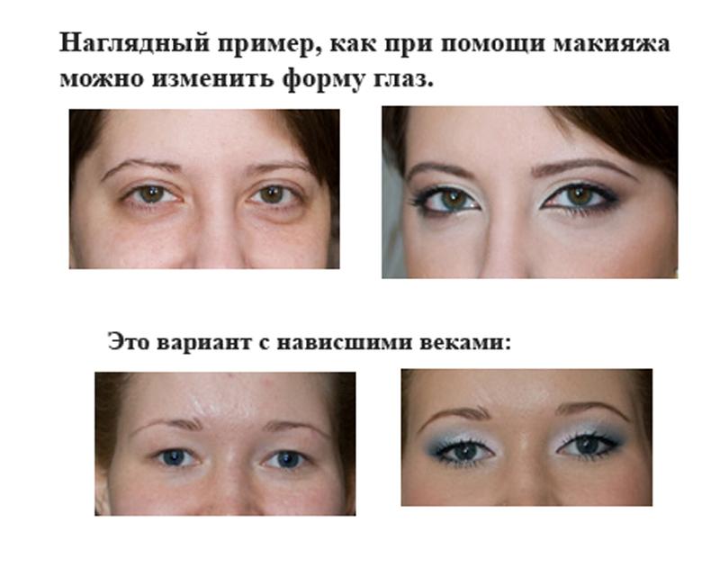 макияж для опущенных глаз фото