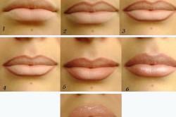 Этапы классического макияжа губ