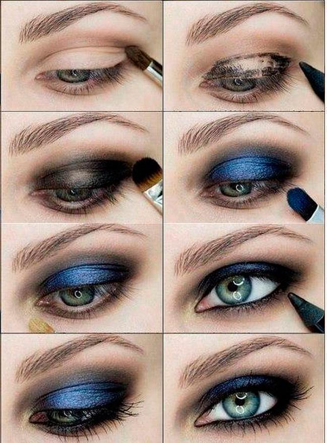 Макияж для темно голубых глаз и темных волос поэтапно фото