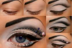 Этапы нанесения макияжа со стразами