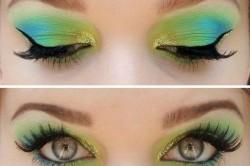 Сочетание зеленых теней с голубыми и желтыми