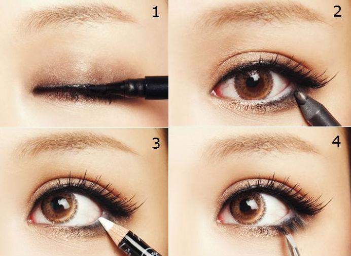 Как накрасить глаза карандашом и тушью